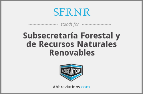 What does SFRNR stand for?