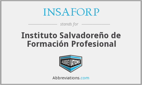 What does INSAFORP stand for?