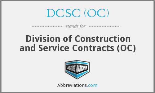 What does DCSC (OC) stand for?