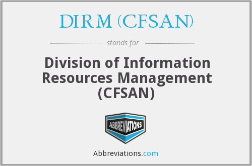 What does DIRM (CFSAN) stand for?