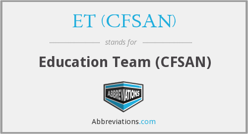 What does ET (CFSAN) stand for?