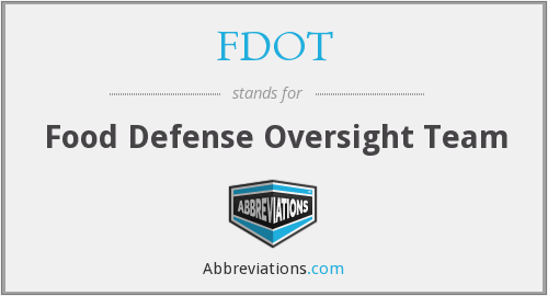 What does FDOT (CFSAN) stand for?