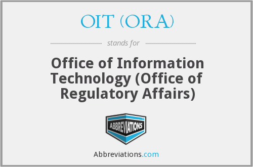 What does OIT (ORA) stand for?
