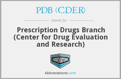 What does PDB (CDER) stand for?