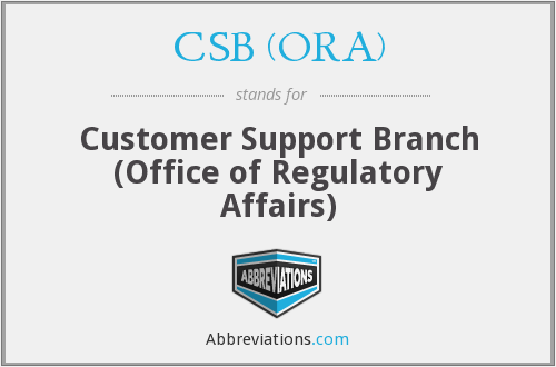 What does CSB (ORA) stand for?