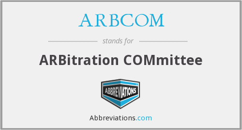 What does ARBCOM stand for?