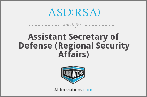 What does ASD(RSA) stand for?
