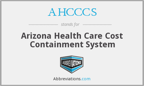 What does AHCCCS stand for?