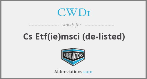 What does CWD1 stand for?