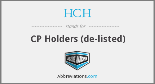 What does HCH stand for?