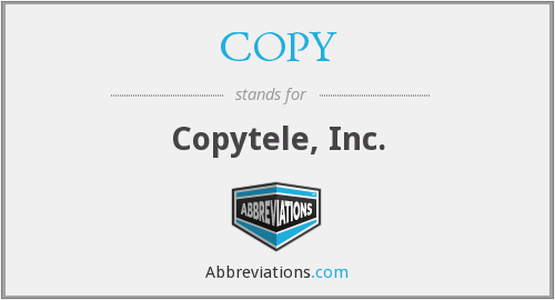 What does COPY stand for?