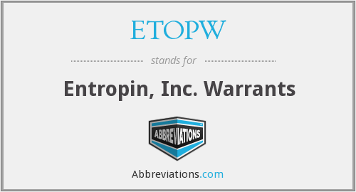What does ETOPW stand for?