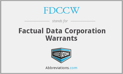 What does FDCCW stand for?