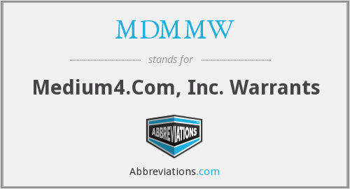 What does MDMMW stand for?