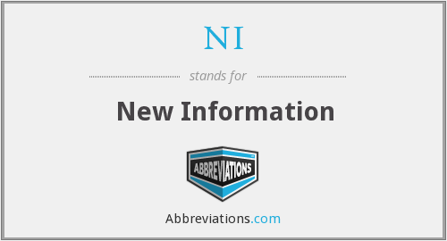 NI - New Information