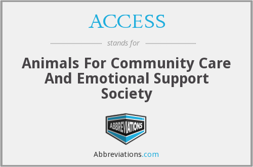 ACCESS - Animals For Community Care And Emotional Support Society