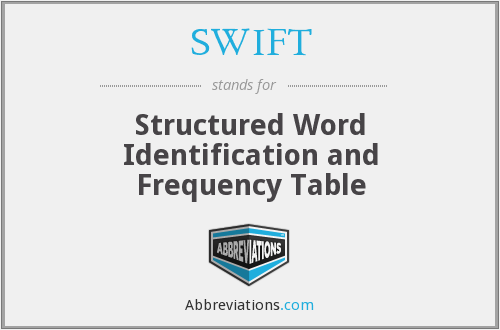 SWIFT - Structured Word Identification And Frequency Table