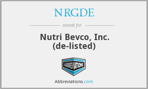 NRGDE - Nutri Bevco, Inc.  (de-listed)