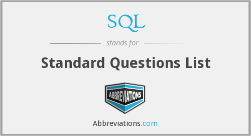 SQL - Standard Questions List