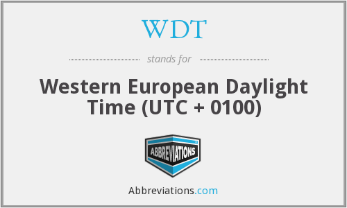 WDT - Western European Daylight Time (UTC + 0100)