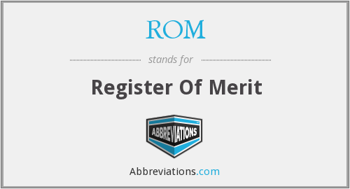 ROM - Register Of Merit