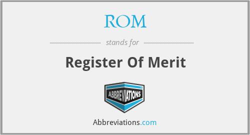 ROM - Register Of Merit