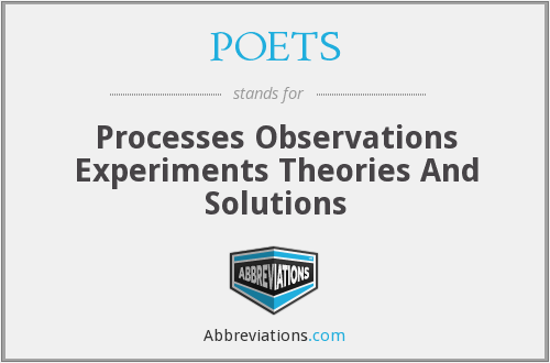 POETS - Processes Observations Experiments Theories And Solutions