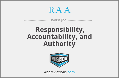 RAA - Responsibility, Accountability, and Authority
