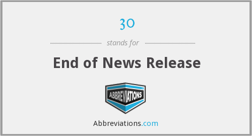 30 - End of News Release