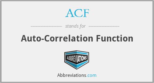 ACF - Auto-Correlation Function
