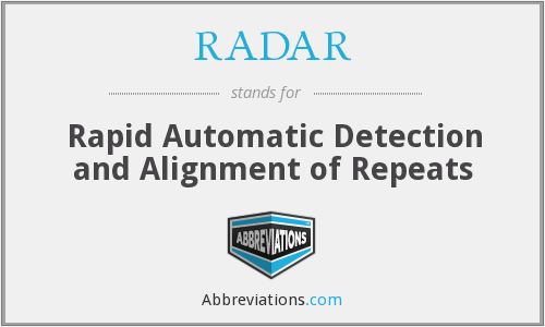 RADAR - Rapid Automatic Detection and Alignment of Repeats