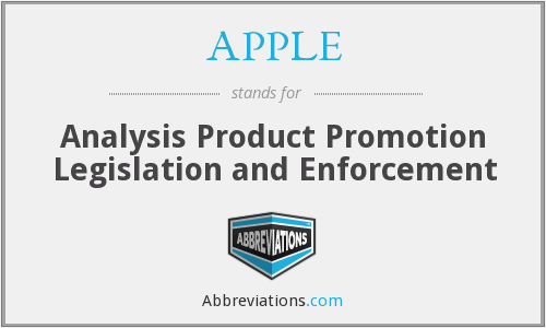 APPLE - Analysis Product Promotion Legislation and Enforcement