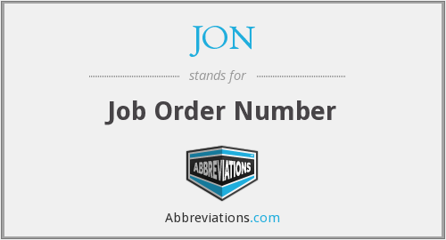 JON - Job Order Number