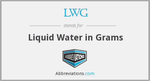 LWG - Liquid Water in Grams