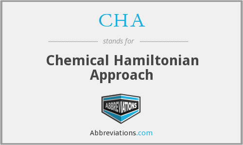 CHA - Chemical Hamiltonian Approach