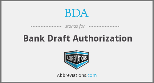 BDA - Bank Draft Authorization