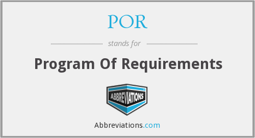 POR - Program Of Requirements