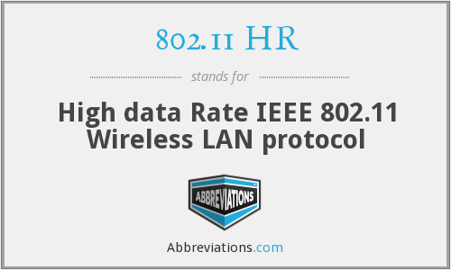 802.11 HR - High data Rate IEEE 802.11 Wireless LAN protocol