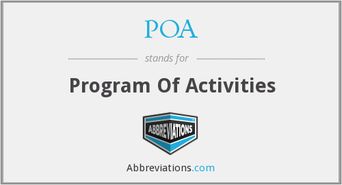POA - Program Of Activities