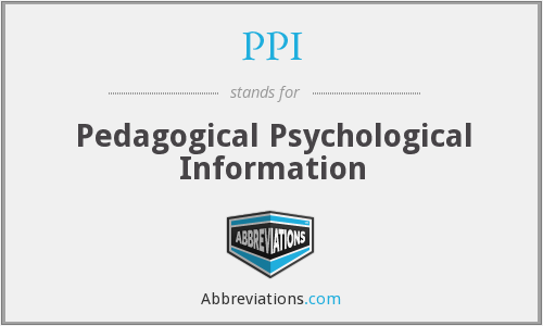 PPI - Pedagogical Psychological Information