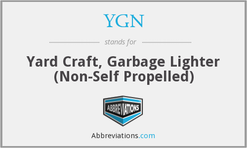 YGN - Yard Craft, Garbage Lighter (Non-Self Propelled)