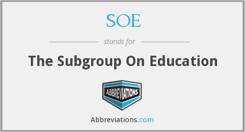 SOE - The Subgroup On Education