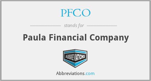 PFCO - Paula Financial Company