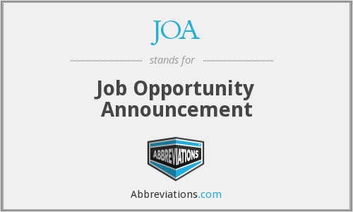 JOA - Job Opportunity Announcement