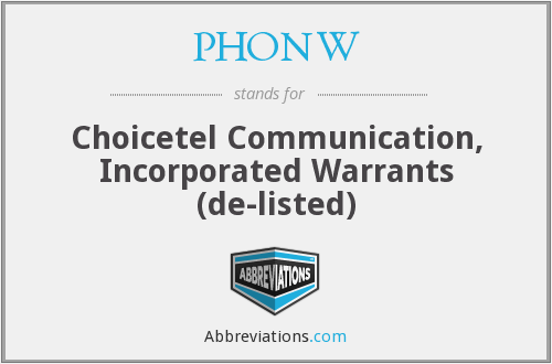 What does PHONW stand for?