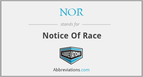 NOR - Notice Of Race