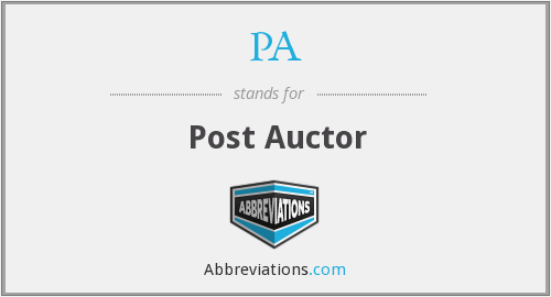 PA - Post Auctor