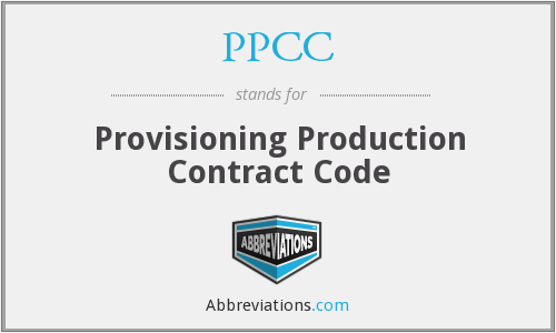 PPCC - Provisioning Production Contract Code