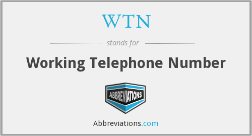 WTN - Working Telephone Number