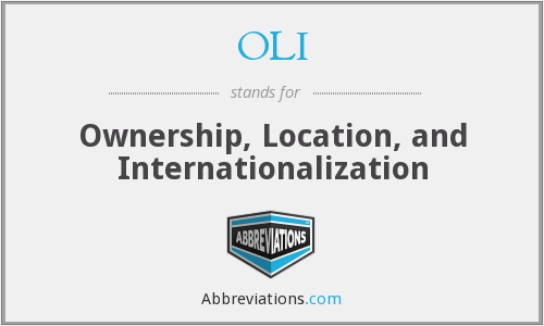 OLI - Ownership, Location, and Internationalization